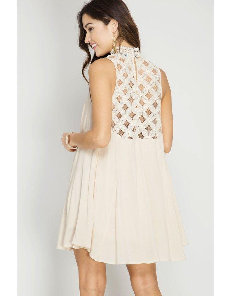 She + Sky Natural Lace Dress