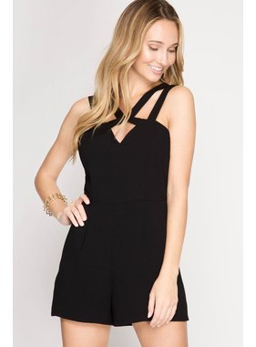 She + Sky black sleeveless with front keyhole and straps