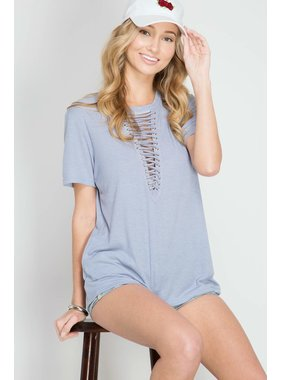 She + Sky light blue half sleeve ribbed top with front lace up detailing