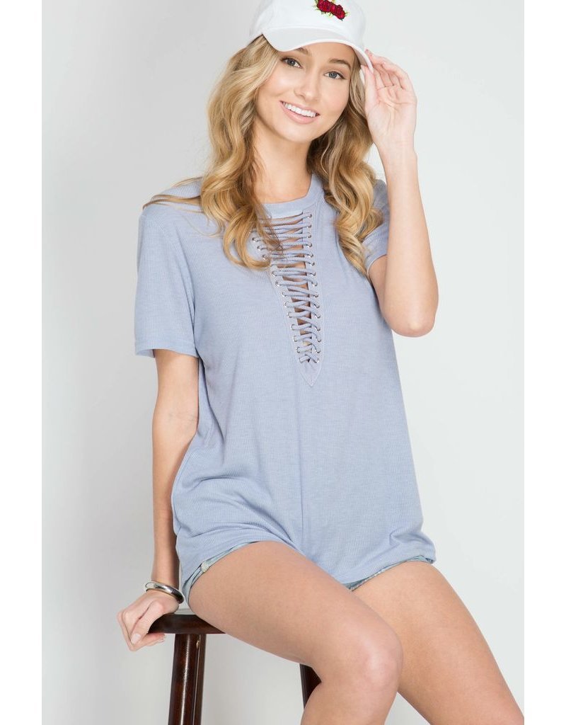 She + Sky Lace Up Top
