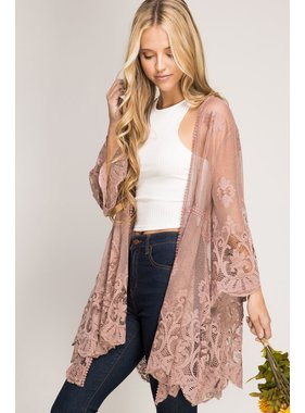 She + Sky 3/4 sleeve floral lace kimono cardigan
