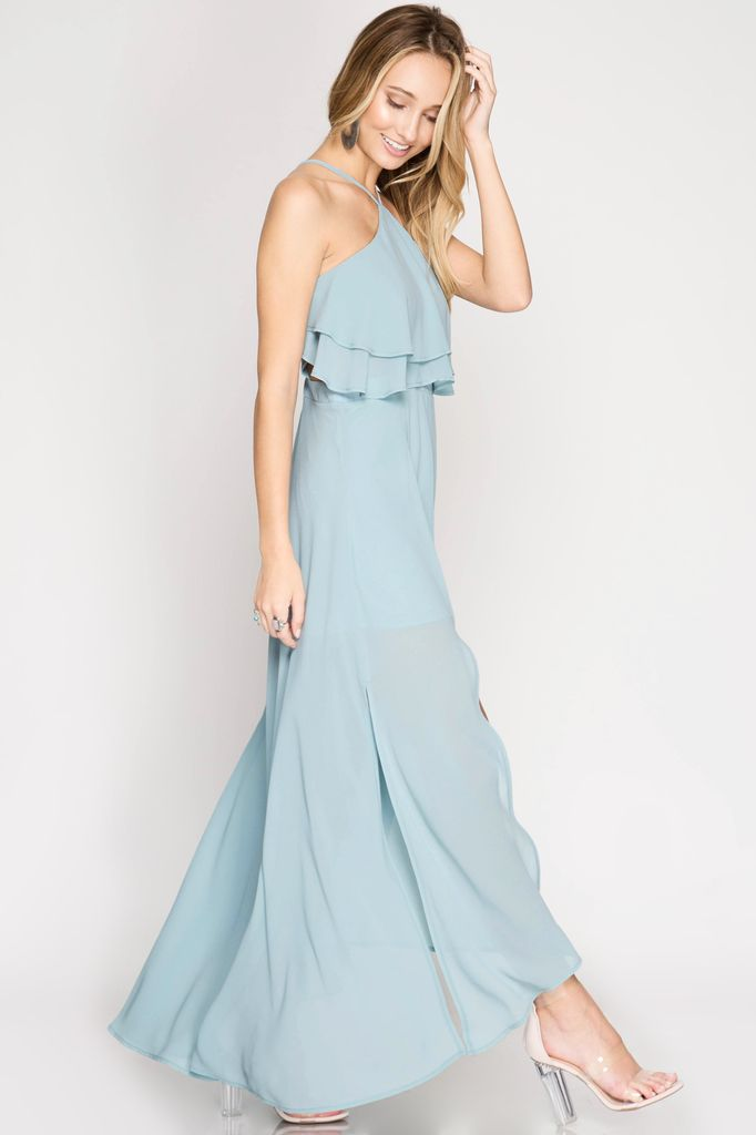 She + Sky maxi halter dress with double layered ruffled top and side cutouts