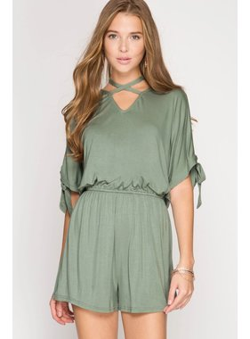 She + Sky cold shoulder romper with neck strap and sleeve ties