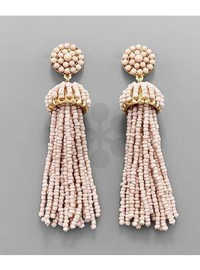 Golden Stella Seed Bead Tassel Earring