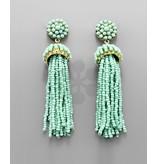 Golden Stella seed bead tassl earrings
