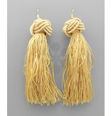 Golden Stella Knot Fringe Tassel Earring