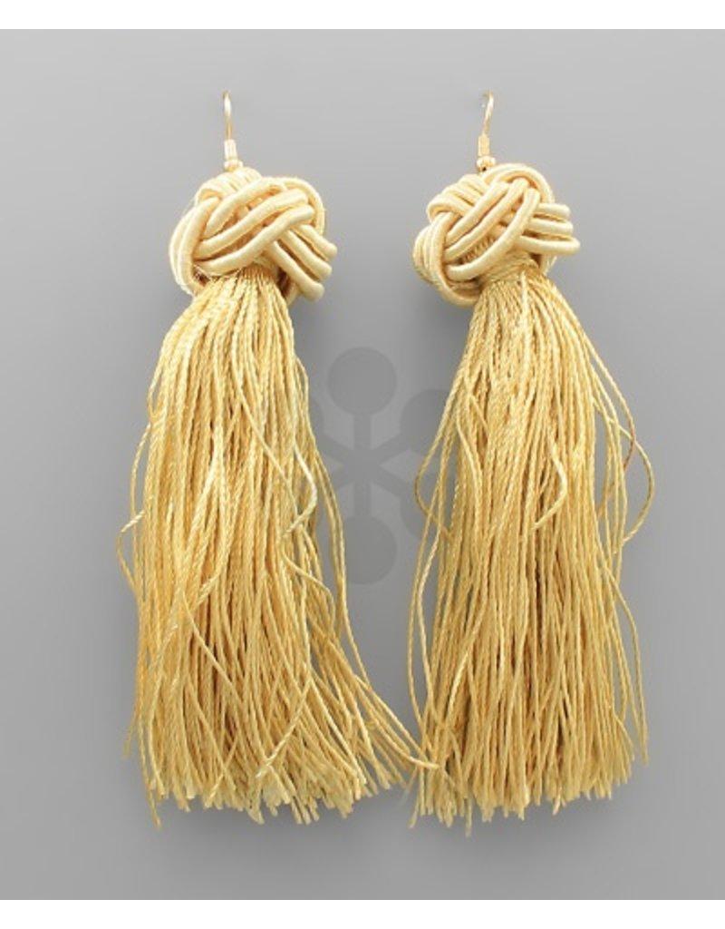 Golden Stella tassel drop earrings