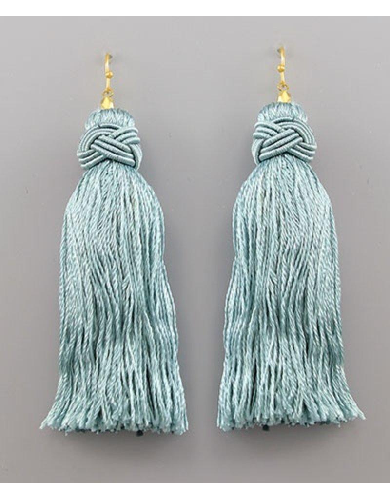 Golden Stella tassl earrings in sage