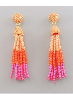 Golden Stella beads tassel earrings