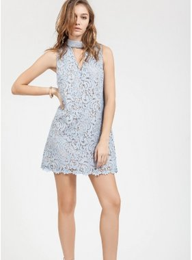 Blu Pepper Baby Blue Halter Lace Dress