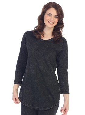 Jess & Jane black mineral washed 3/4 sleeve tunic top