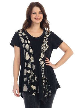 Jess & Jane black tunic with giraffes printed allover asymetric tunic