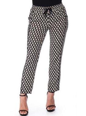 Crew Knit Wear LLC woven pull on trouser / black tile print
