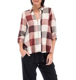 Crew Knit Wear LLC woven plaid blouse navy/plaid