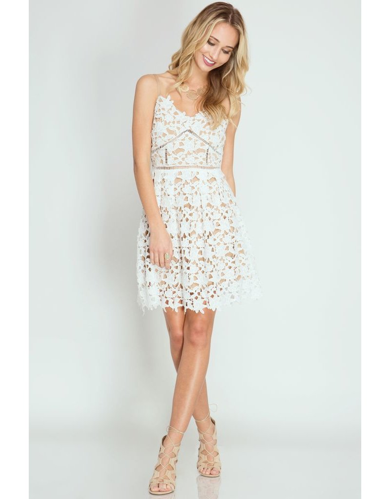 She + Sky White Lace Dress