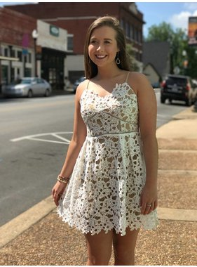 She + Sky White Lace Dress