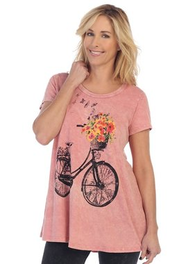Jess & Jane Bike Ride printed Mineral washed short sleeve tunic top