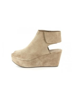 Chocolat Blu White taupe suede wedge