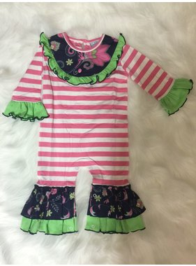 Three Sisters pink & white stripe/ blue floral knit romper
