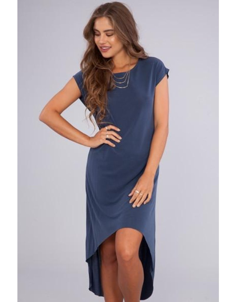 Peach Love California navy solid hi-low dress