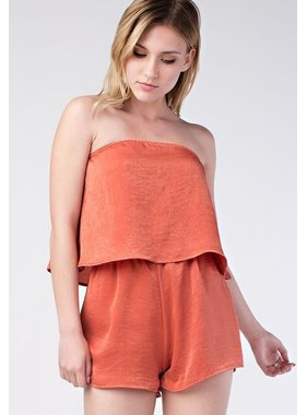 Honey Punch strapless layer romper