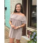 She + Sky Double Ruffled off shoulder pleated shift dress