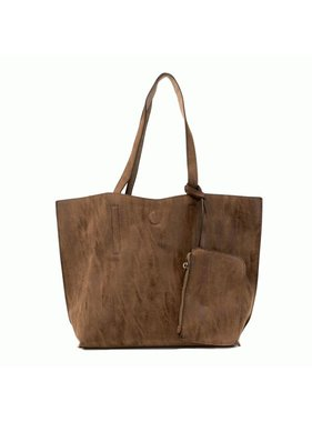 JOY Accessories Chocolate Taupe Carly Brushed Reversible Tote