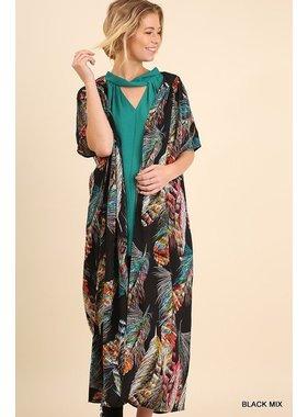 Umgee Open Front Feather Print Kimono