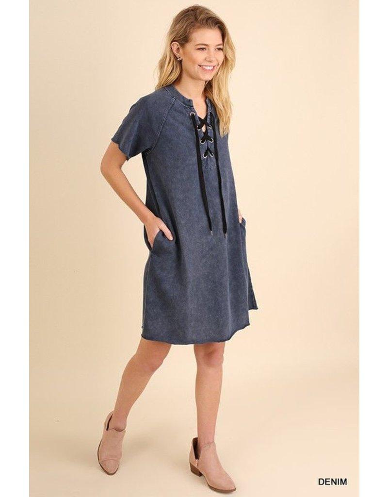 Umgee Denim Lace Up Dress