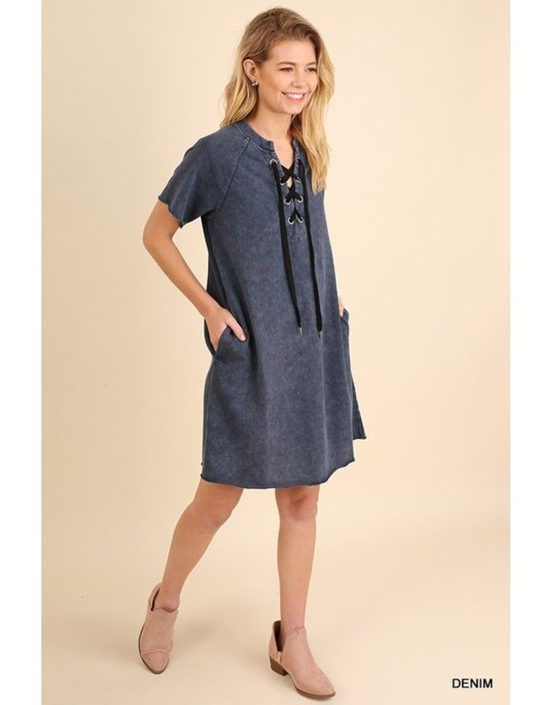 Umgee Washed Dress with drawstring and pockets