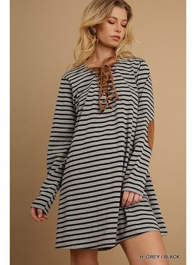 Umgee Striped tee dress with suede drawstring neckline and elbow patches