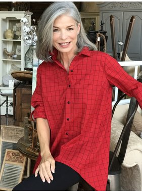 Ronnie Salloway Red Button Up Blouse