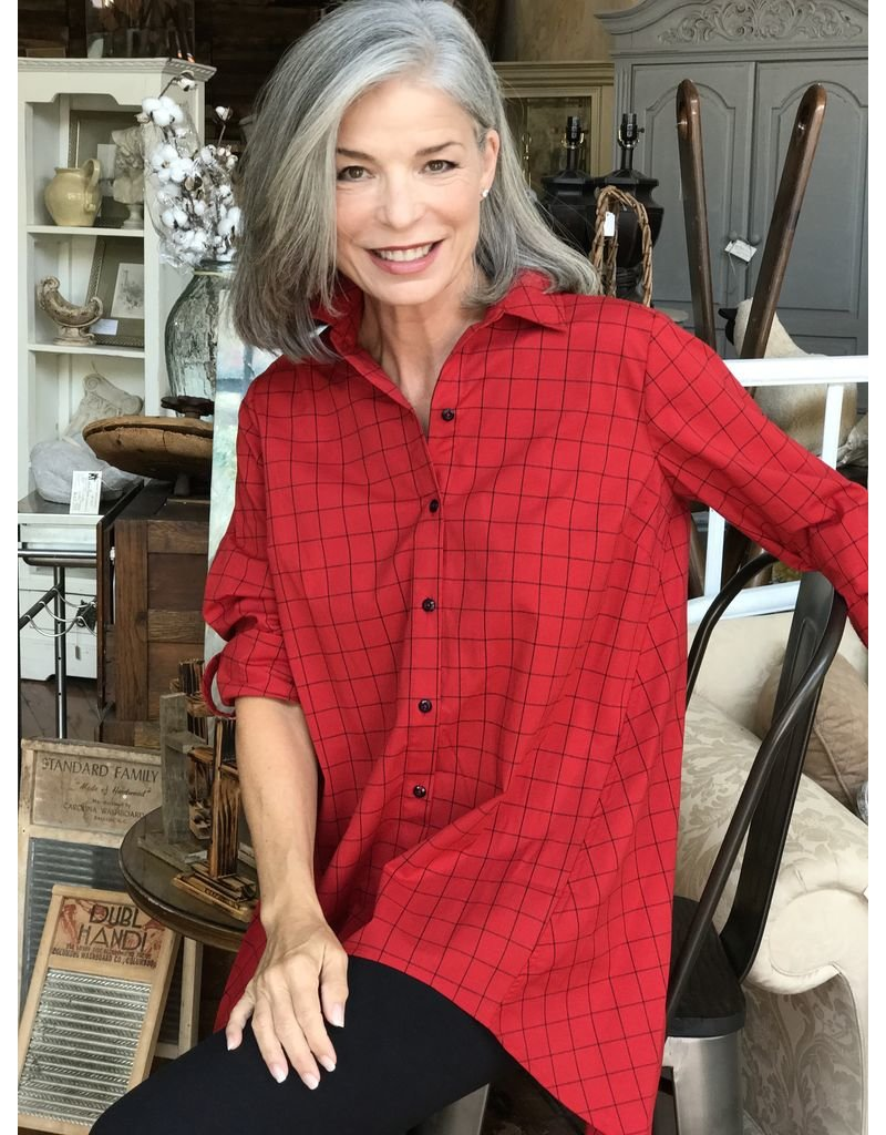 Ronnie Salloway Red Button Up Blouse by Ronnie Sollaway