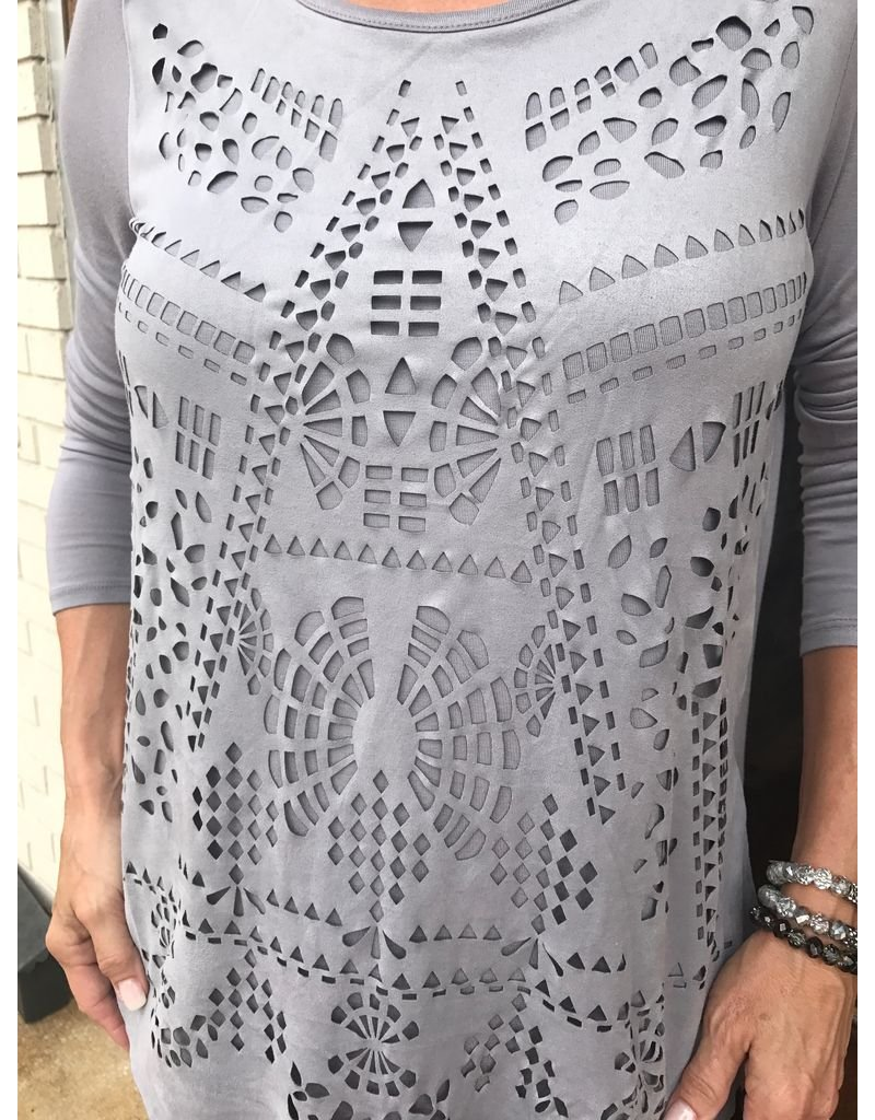 Tribal Long sleeve scoop neck top cut out