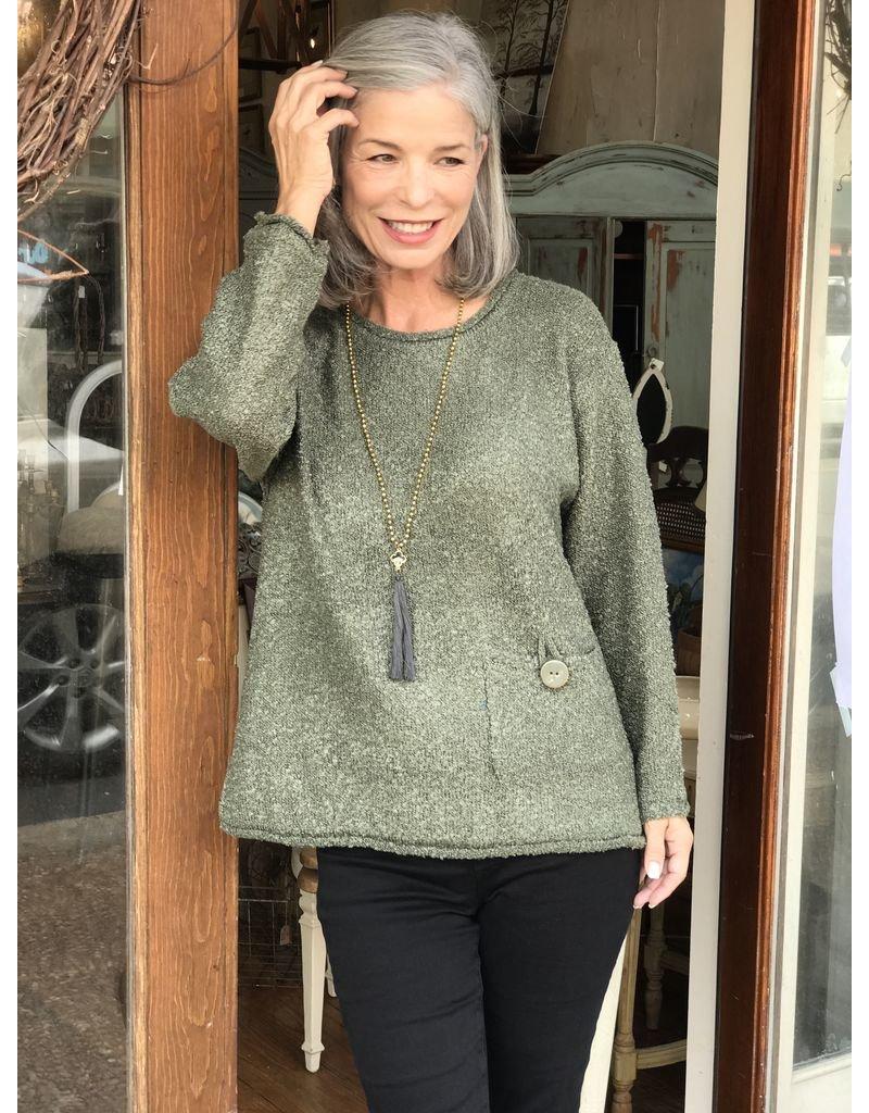 Lulu B Pocket Tweed Pullover by Lulu B
