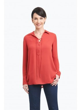 """Foxcroft """"Leah"""" Solid Poly Crepe Tie Front Blouse by Foxcroft"""