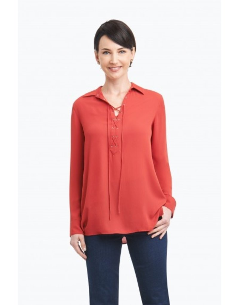 "Foxcroft ""Leah"" Solid Poly Crepe Tie Front Blouse by Foxcroft"
