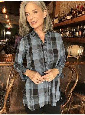 Habitat Button Up Blouse in Mixed Plaid Print by Habitat