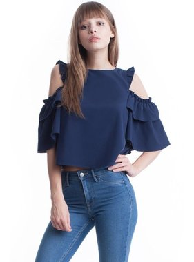 Symphony Ruffle Crop in Navy