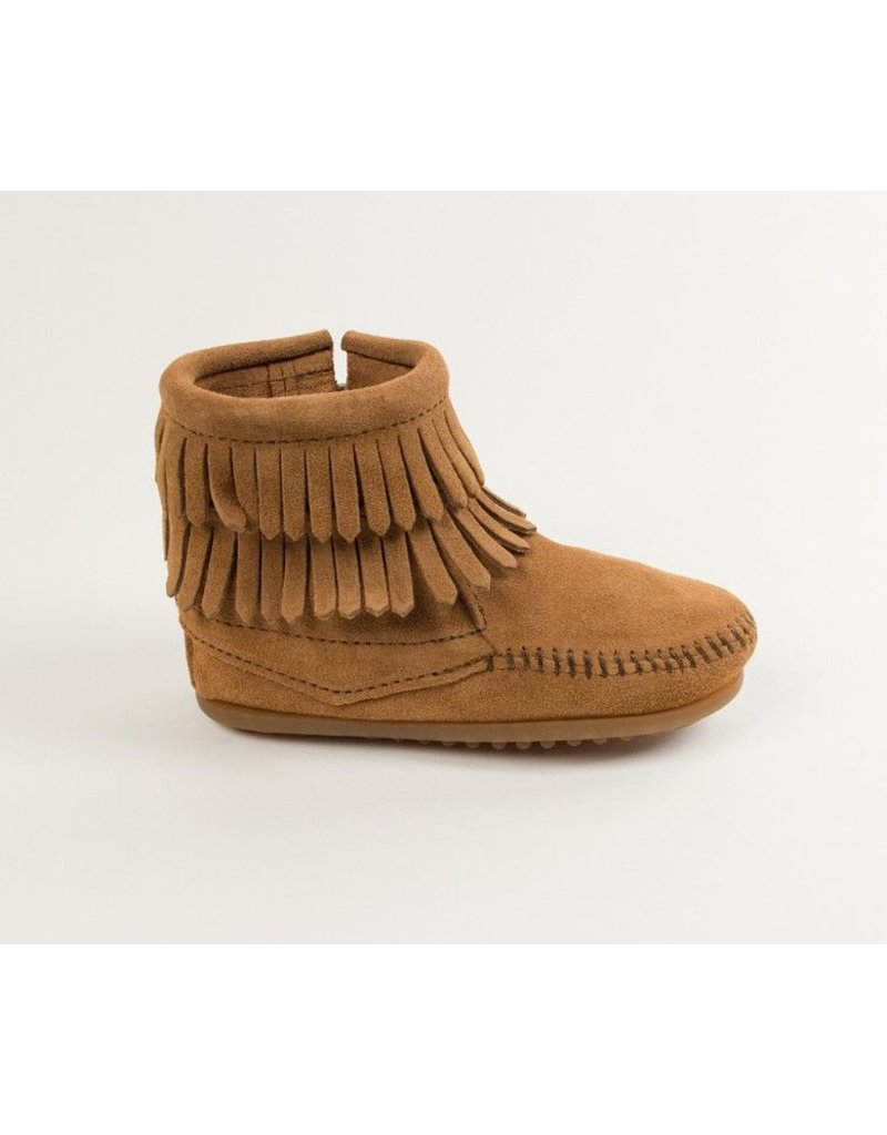 Minnetonka Double Fringe Side Zip Boot by Minnetonka