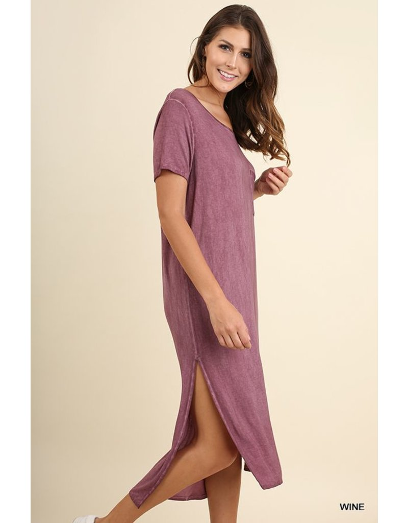 Umgee Side Slit Maxi Fress with side pocket detailing