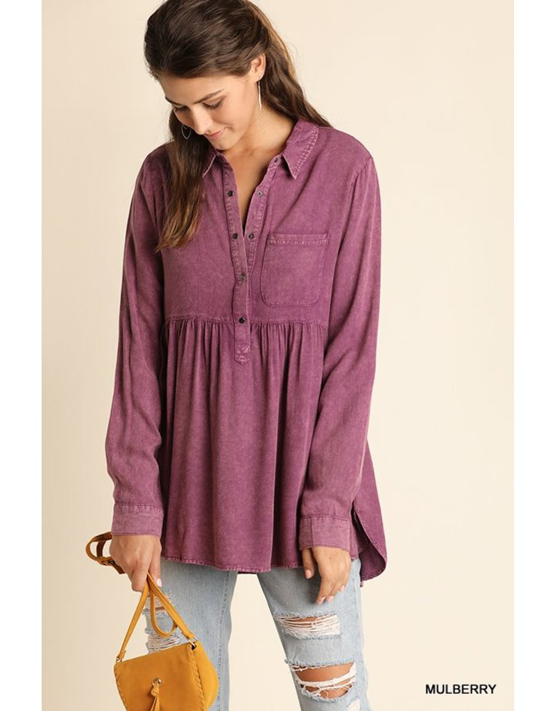 Umgee Mineral Washed Button Up Babydoll top with ruffled high-low hemline