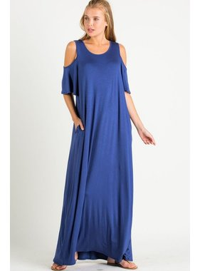 eesome usa Cold Shoulder Maxi Dress