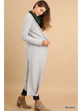 Umgee Open Front Long Body Cardigan