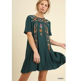 Umgee Floral Embroidered A-line tee dress