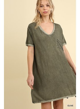 Umgee Washed V-neck tee dress with ches pocket