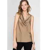 She + Sky Sleeveless Cowl Neck Satin Top