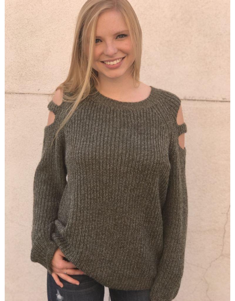 Blu Heaven Crew Neck Sweater with Open Shoulder