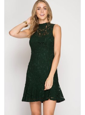 She + Sky sleeveless mock neck lace mermaid trumpet dress with lining