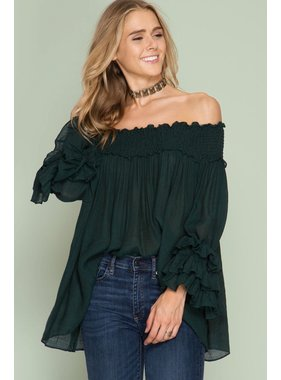 She + Sky Long Ruffled sleeve off shoulder top with smocking